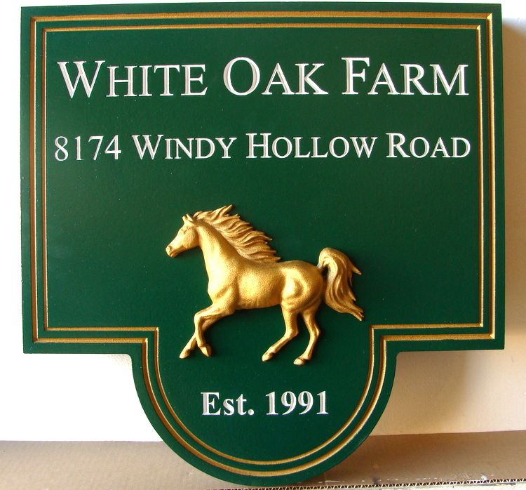O24203 - Carved Wood White Oak Farm Sign,  with Golden Horse