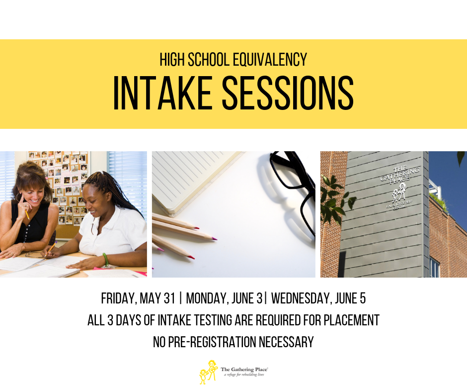 High School Equivalency Intake Testing for May and June