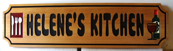 "N23108 - Carved Cedar Wall Plaque, ""Helene's Kitchen"", with Wine and Utensils"