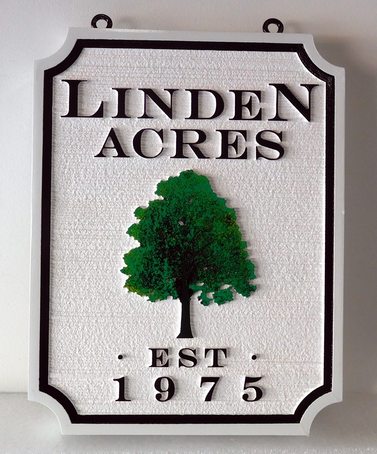 "I18330 - Carved and Sandblasted 2.5D HDU  Property Name Sign,""Linden Acres"" , with Carved Linden Tree as Artwork"