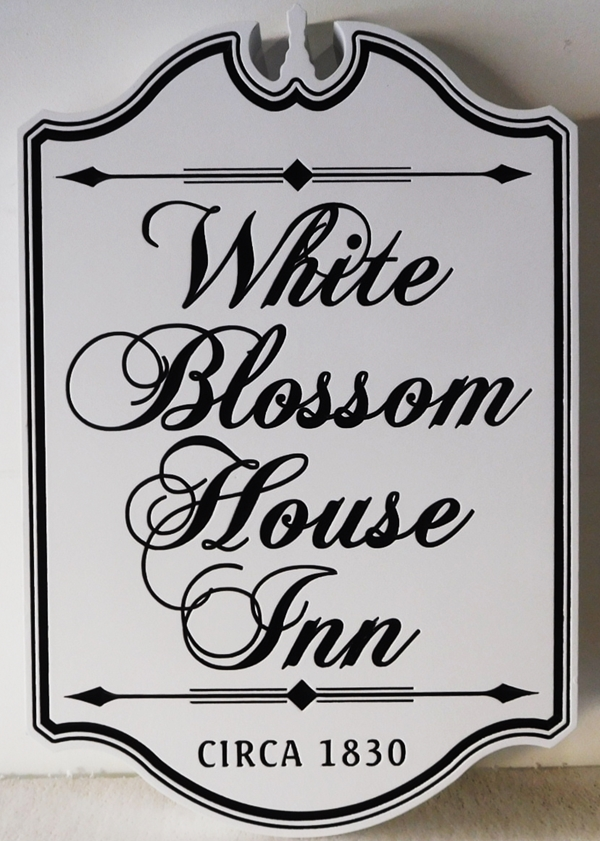 "T29048 - Carved HDU Colonial-style sign made for the ""White Blossom Inn""., 2.5-D Engraved V-Relief"