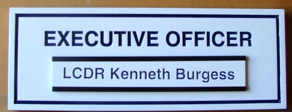 "V31392D – Engraved Title Plaque  for Office Door or Adjoining Wall, ""Executive Officer"" with Changeable Name"