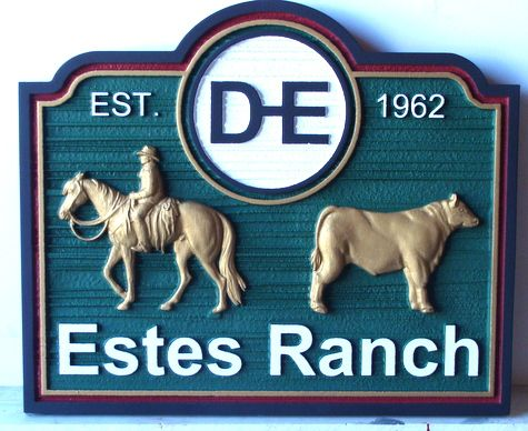 "O24132 - 3-D Carved and Sandblasted Wooden Sign for ""Estes"" Cattle Ranch, with Mounted Cowboy and Angus Bull"