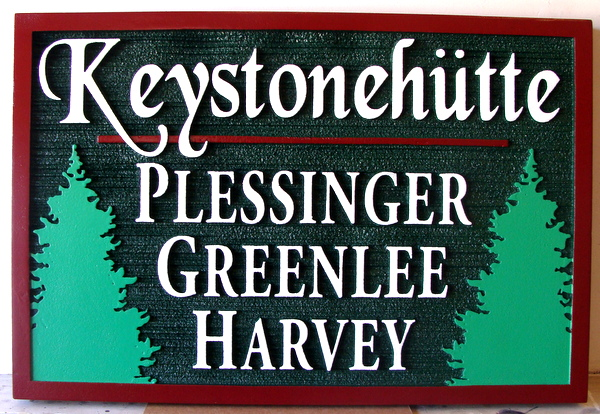 M22084 - Sandblasted HDU Cabin Name Sign, with Two FirTrees