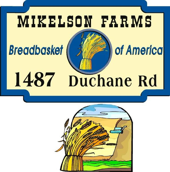 """O24714 - Farm Sign """"Breadbasket of America"""" with Sheaves of Wheat, Combine and Wheat Field"""