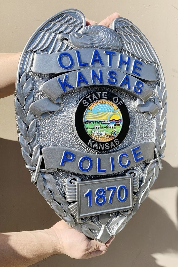 PP-1152 - Carved 3-F Plaque of the Badge of a Police Officer, Olathe,  Kansas