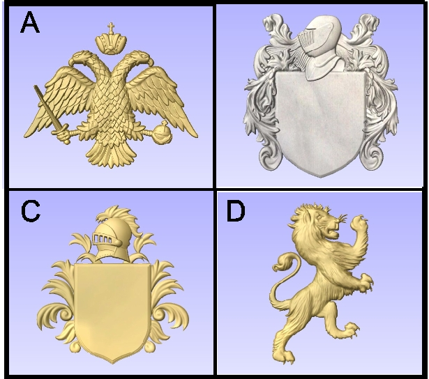I18988 - Carved 3-D Heraldry Emblems