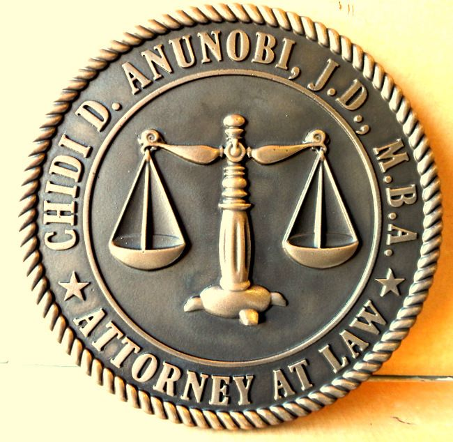 A10206 - 3-D Carved Wall Plaque for an Attorney,  Brass Coated with Dark Patina on the Background, and Carved Scales-of-Justice as Artwork
