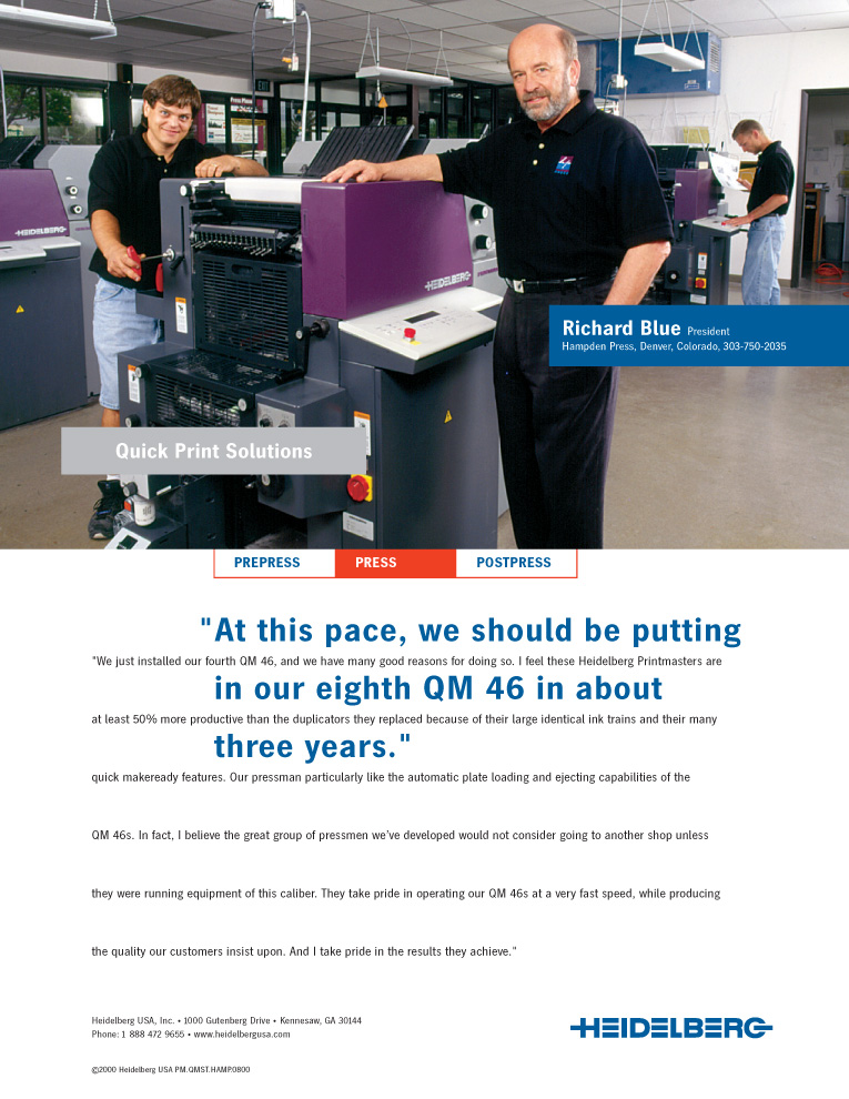 Hampden Press is featured in Heidelberg ad campaign