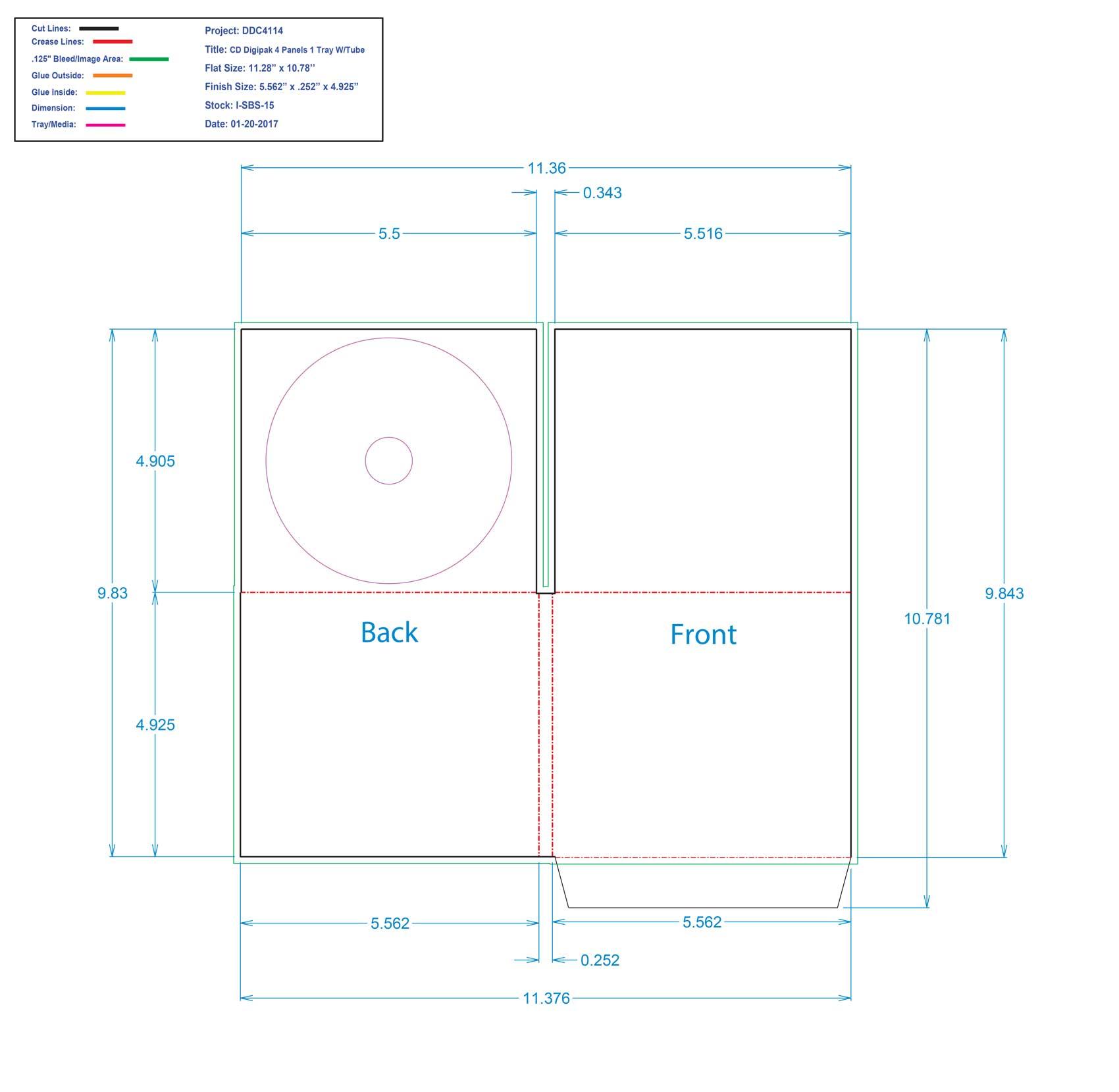 DDC4114 - 1 CD 4 Panel Digi Tray With Tube Pocket
