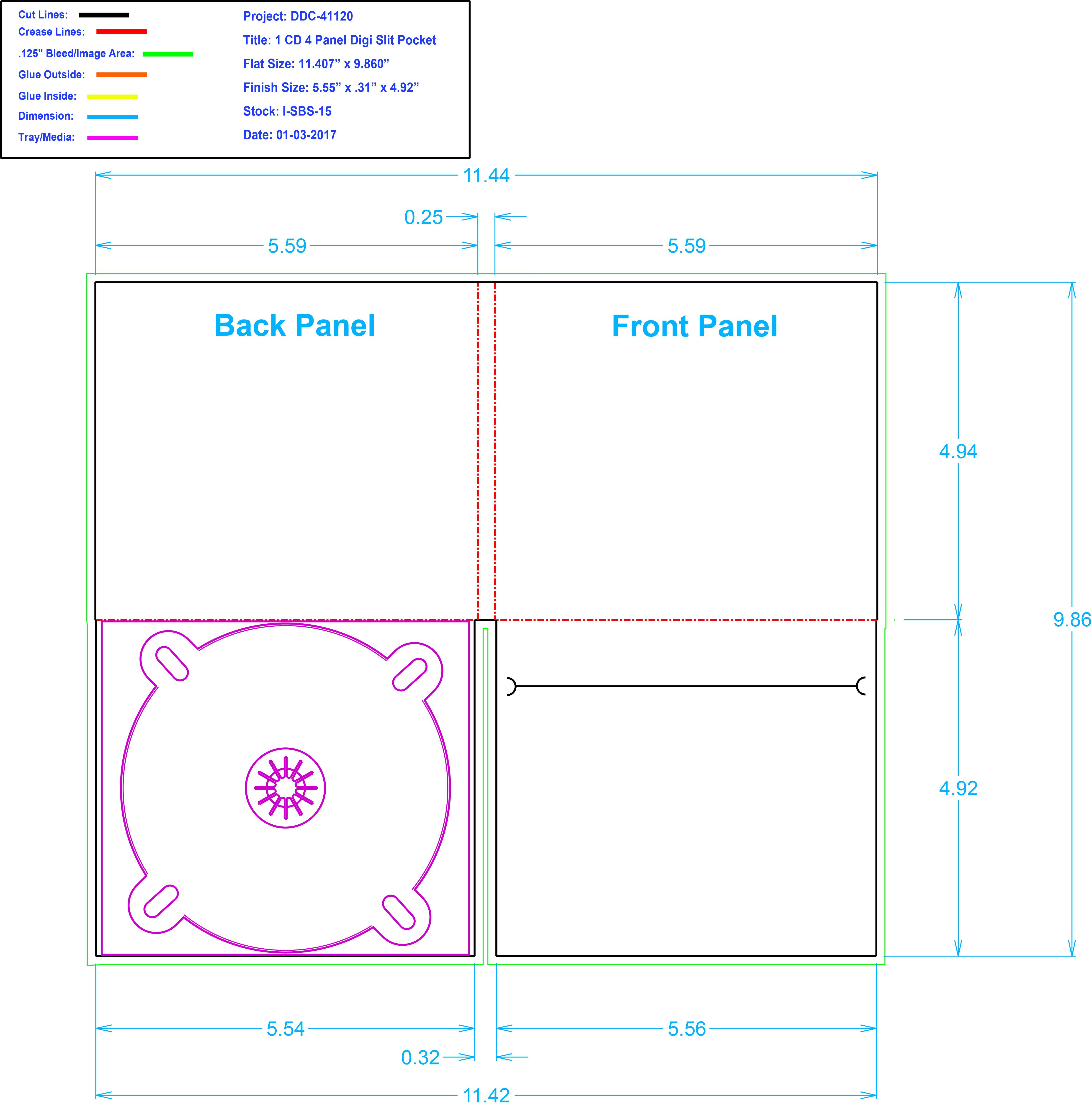 DDC41120 4 Panel Digi 1 Tray, Slit Pocket