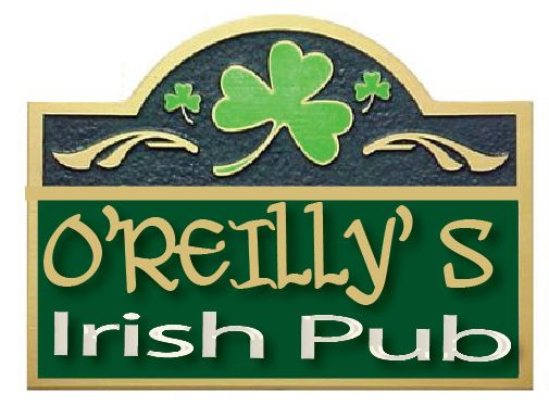 "YP-4020 - Carved  Plaque for ""O'Reillys Irish Pub"" Home Bar, Artist Painted"
