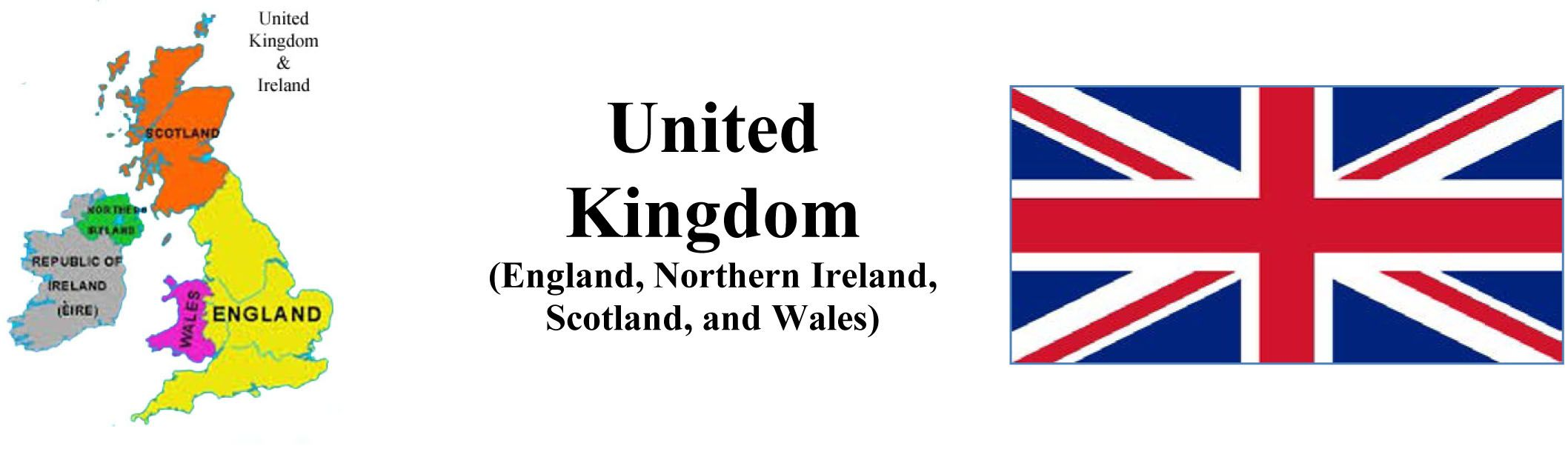 Map and Flag of United Kingdom