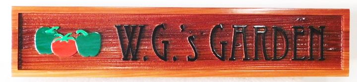 "GA16704 - Carved and Sandblasted Wood Grain  High-Density-Urethane (HDU)  Sign  for ""W.G.'s Garden"", with Vegetables as Artwork"