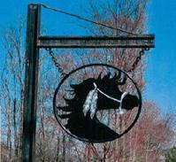 P25360 - Carved HDU Stable Entrance Sign, Horse with Native American Indian Style Harness
