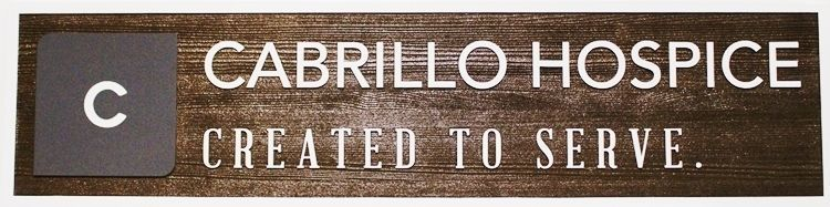 """K20427- Carved and Sandblasted Western Red Cedar Wood Entrance Sign for """"Cabrillo Hospice"""""""