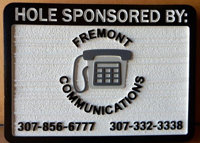 E14576- HDU sandblasted Golf Hole Sponsor Sign with Company Logo
