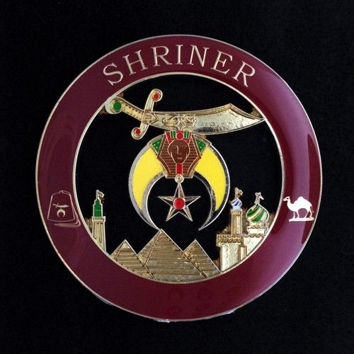 UP-2040- Carved Wall Plaque of Shriners Badge, Artist Painted & Gold Leaf