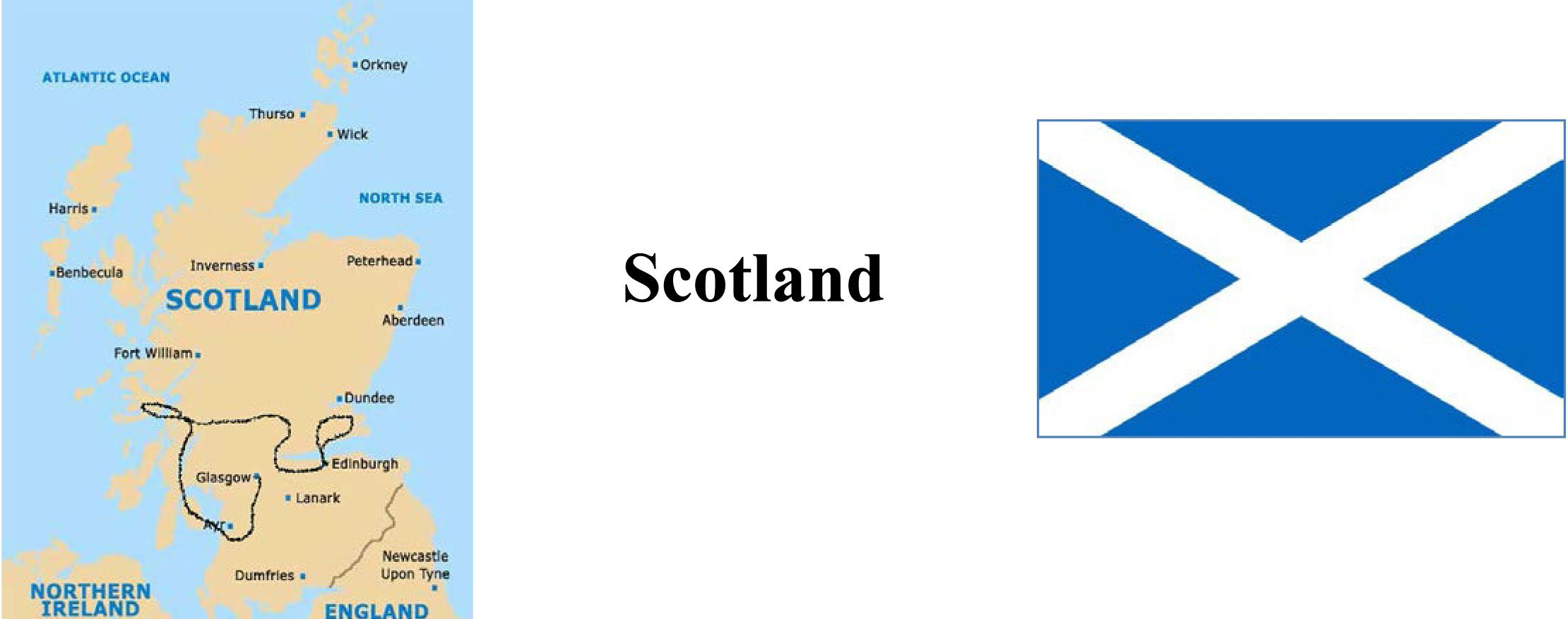 Scotland Map and Flag