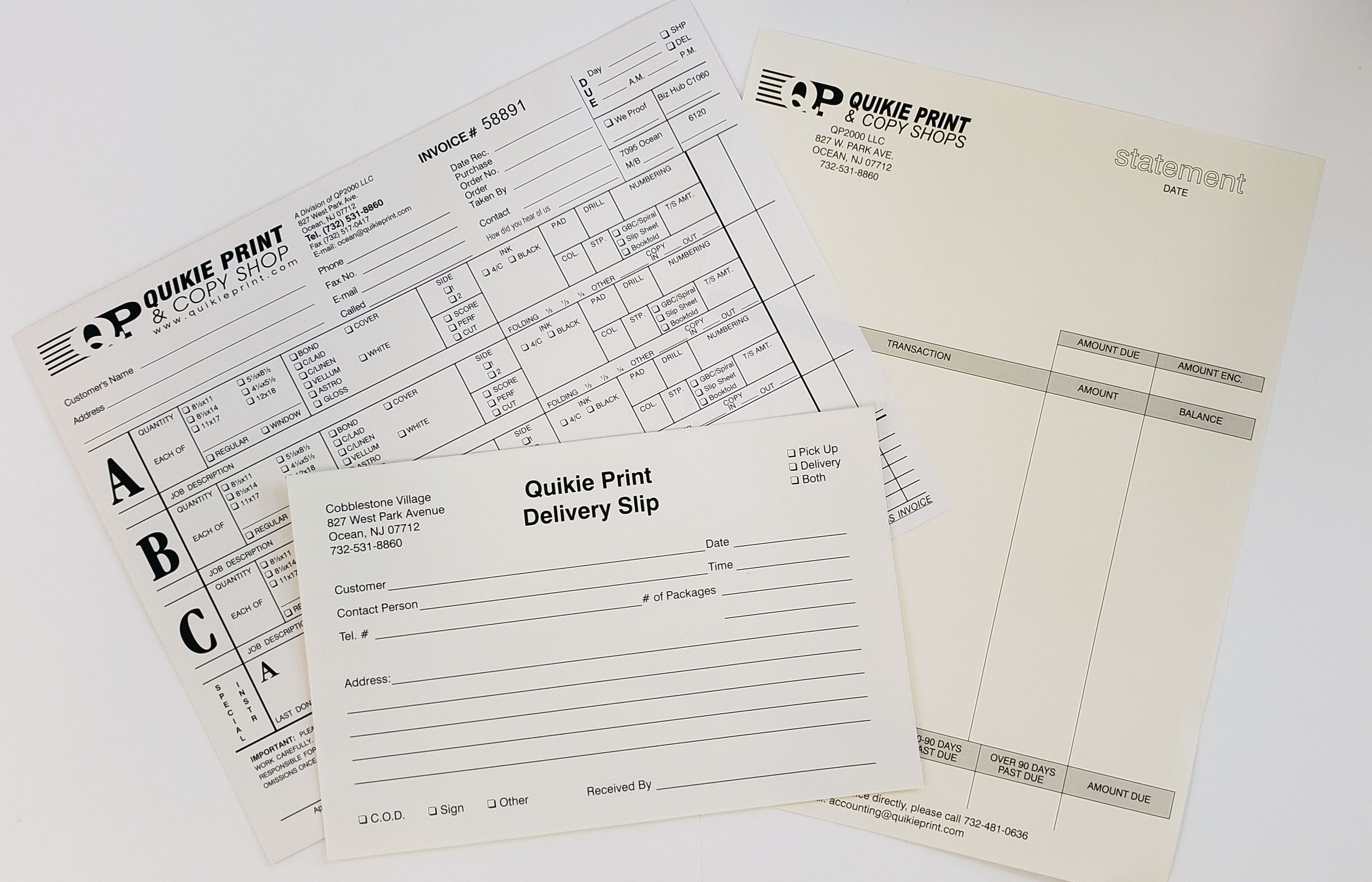 Business Forms - Invoices, Statements, Multi-Part Carbonless Forms