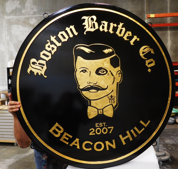 "S28062 -  Carved  HDU Hanging Commercial Sign made for the ""Boston Barber Company"" , 2.5-D 24K Gold-Leaf Gilded"