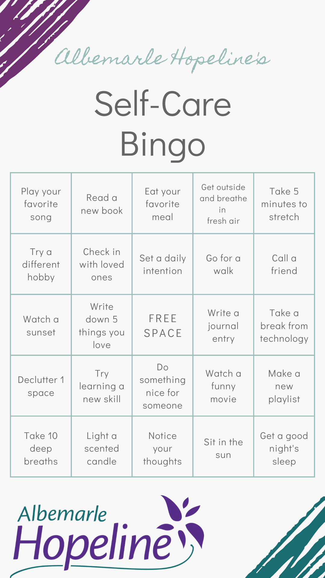 Self-Care Bingo Game