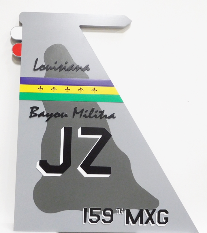 CB5405 - Crest of Louisiana Bayou Militia JZ , Multi-level  Relief