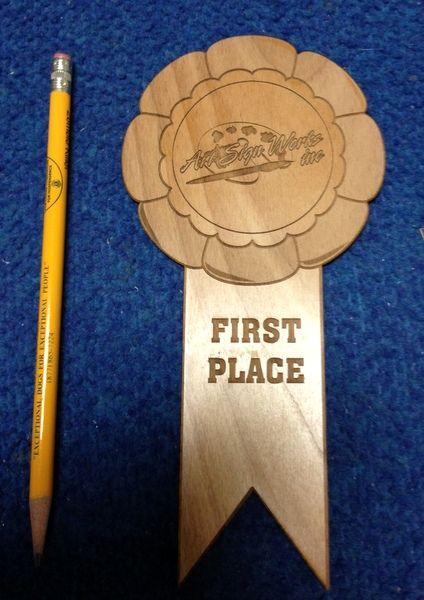 "N23032 - Engraved Wood Award Ribbon, ""First Place"""