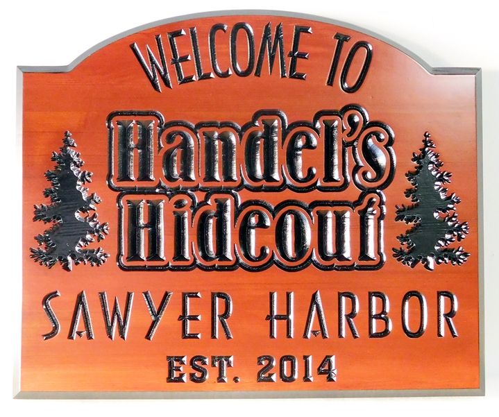 "M22099 - Engraved Western Red Cedar Cabin Sign ""Handel's Hideout"" with Fir Trees Artwork"