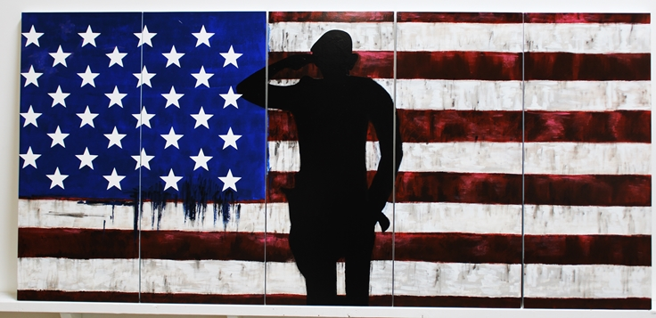 M1825 -  Large Wall Plaque of  theUS Flag and a Silhouetted POW (Gallery 32)