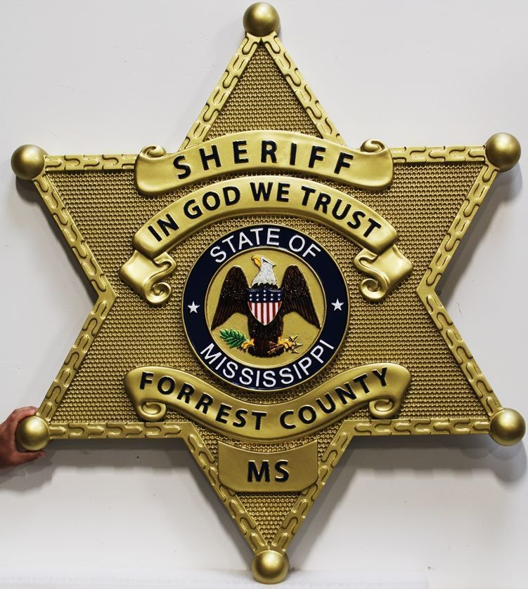 X33745 - Carved 3-D Brass-Plated HDU Plaque of the Badge of the Sheriff's Department of Forrest County, Mississippi