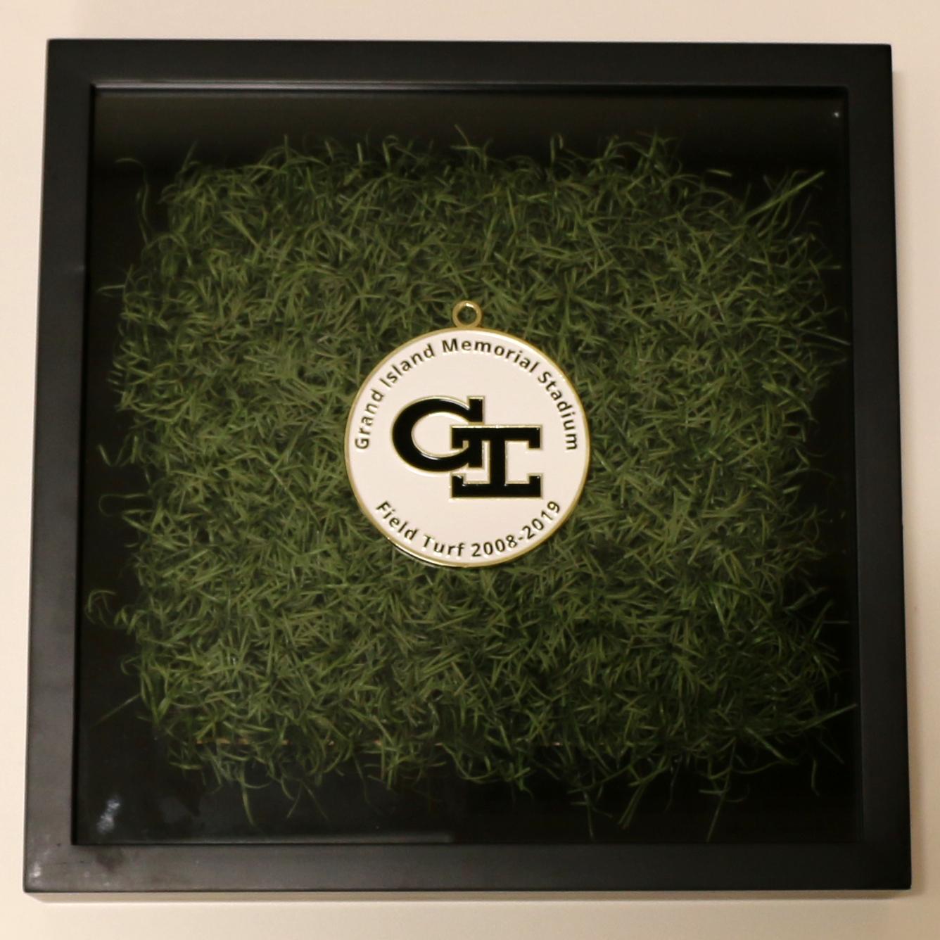 Shadow Box with turf - Grand Island Senior High medallion