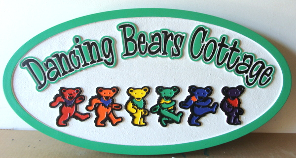 "M22882 - Carved and Sandblasted HDU Cottage Sign, ""The Dancing Bears"""