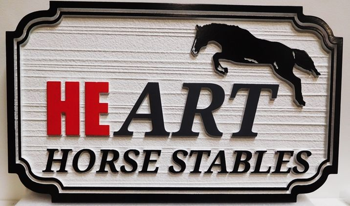 """P25307 - Entrance Sign for the """"HEART Horse Stables""""  with a  Carved Silhouette of an Horse Jumping over a Fence as Artwork"""