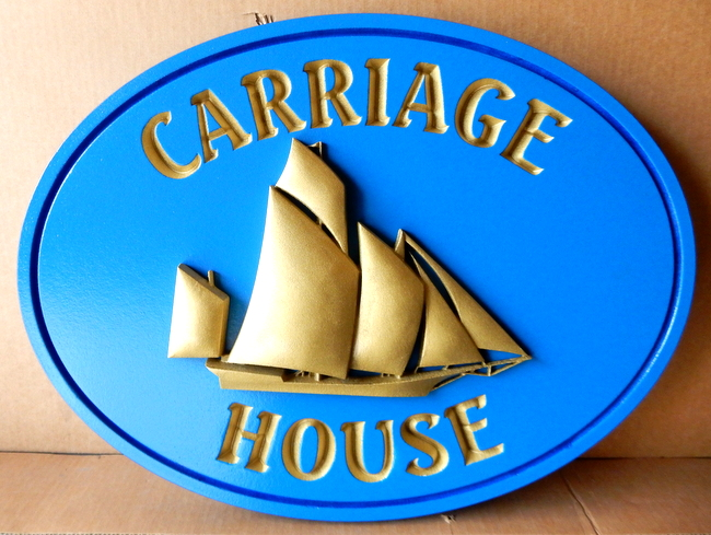 "L21306 - 3-D HDU Carved Sailboat Sign for ""Carriage House"""