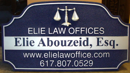 A10056 - Carved and Sandlasted Law Office Sign with 3D Scales of Justice
