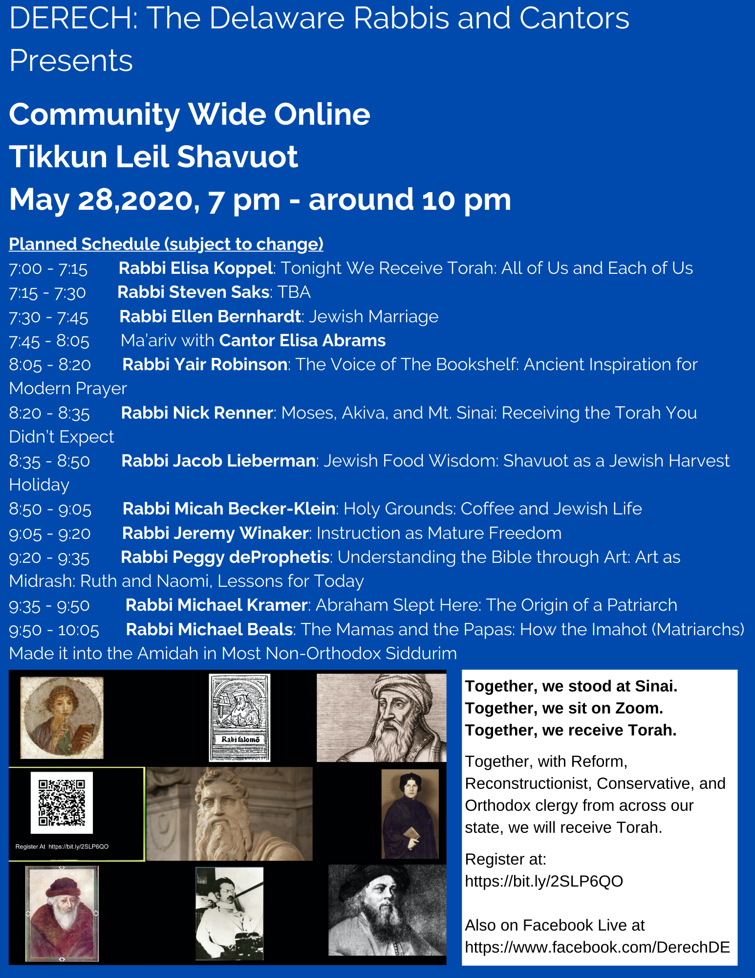 Learn with the Rabbis and Cantors of Delaware at our online Tikkun Leil Shavuot!