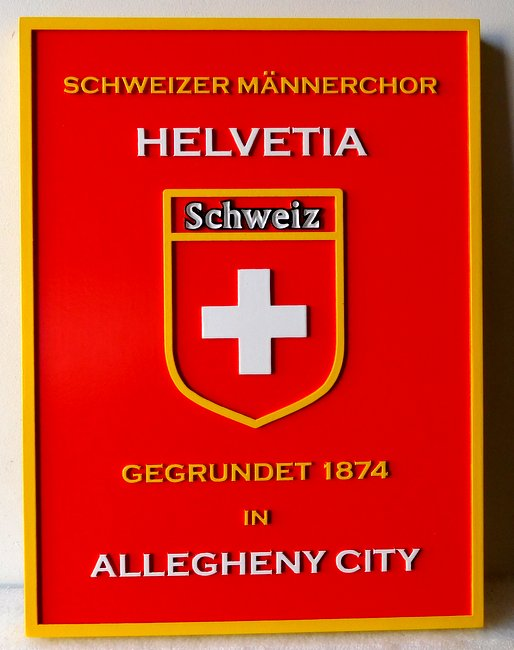 X33068 - Carved Swiss  Community Entrance Plaque, Helvetia in Allegheny City, featuring Swiss Seal