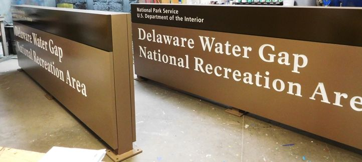 G16022 - Two  Large Cedar Wood Entrance Signs for the Delaware Water Gap National Recreational Area (DEWA)