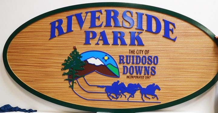 GA16412 - Carved and Sandblasted Wood Grain Sign for Riverside Park, 2.5-D Artist-Painted