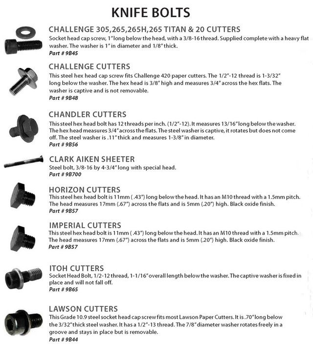 Challenge, Chandler, Horizon, Itoh, Lawson knife bolts for paper cutters