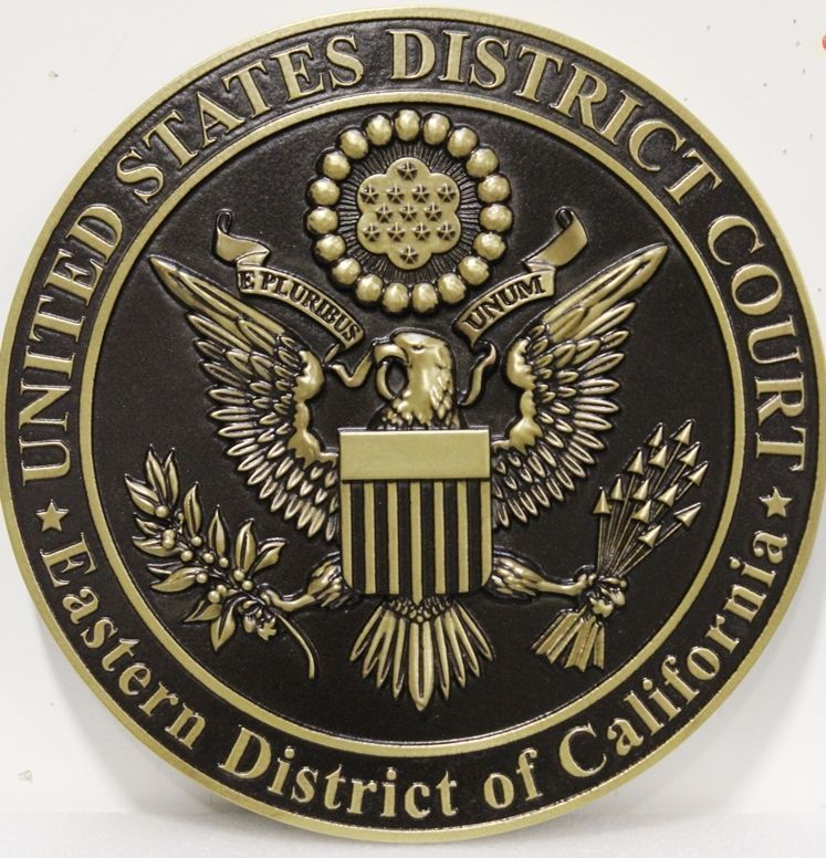FP-1378 - Carved 3-D Brass-Plated Plaque of the Seal of the United States District Court, Eastern District of California