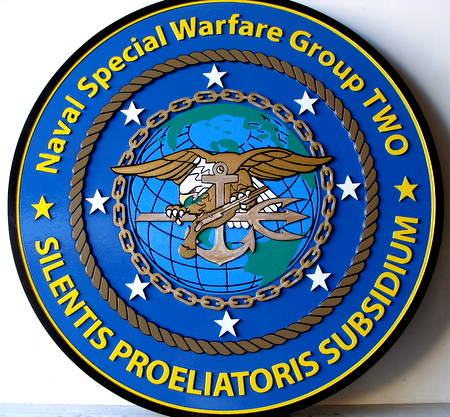 JP-1800 - Carved  Plaque of Seal of  Navy Special Warfare Group (SEAL Team)TWO, Artist Painted