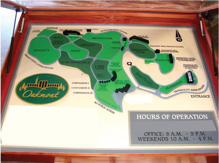 GA16574 - Carved HDU Map and Directional Sign for Oakmont Cemetery with Hours of Operation, Cedar Wood Map Case