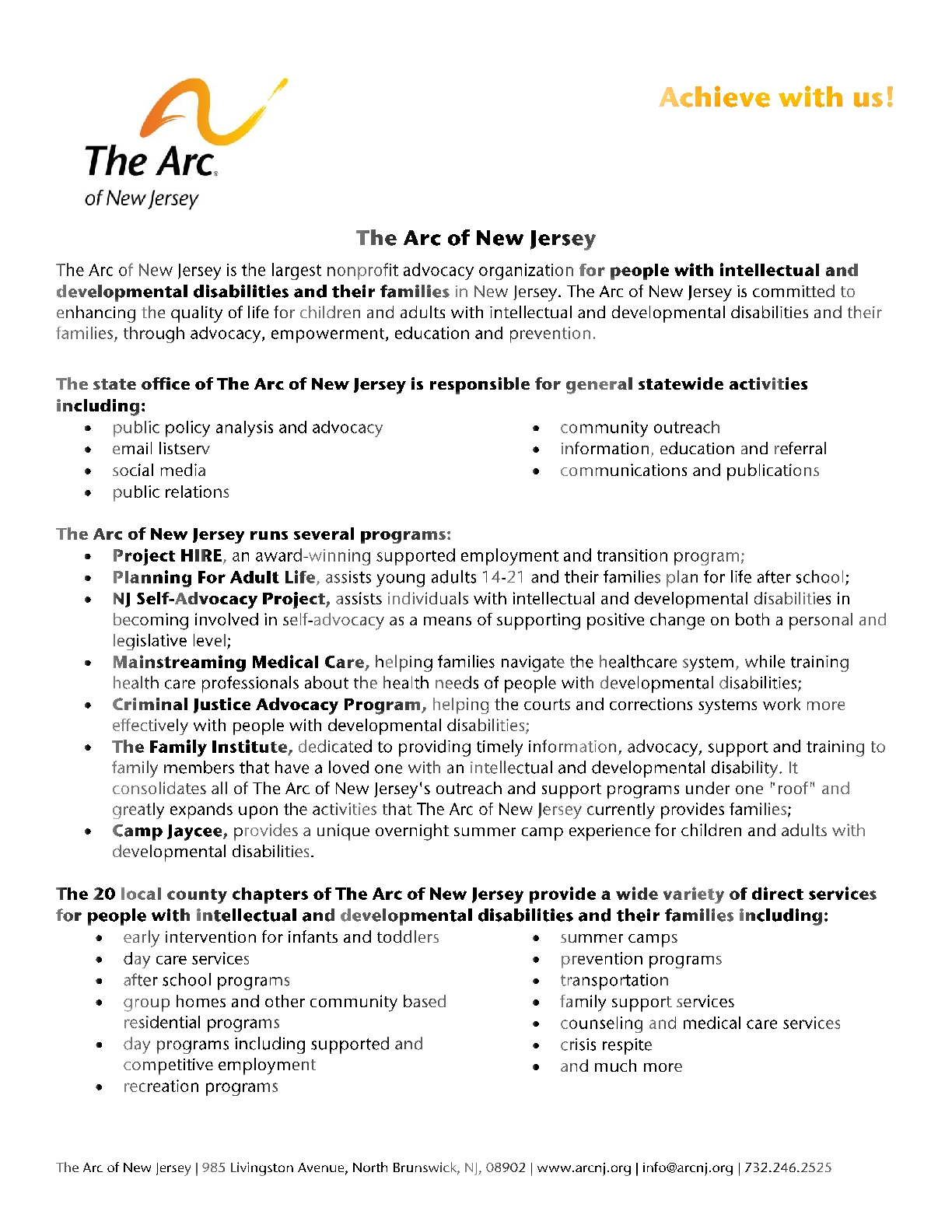 About The Arc of New Jersey