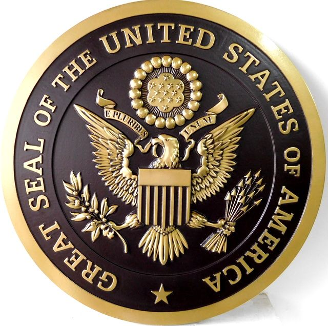 M7140 -  Carved 3D  Polished Brass Wall plaque for the Great Seal of the United States, with Hand-Rubbed Black Background