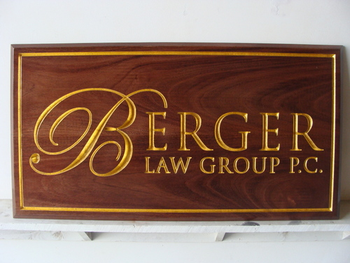 A10001 - Elegant Engraved Walnut Law Office Plaque with Gold Leaf