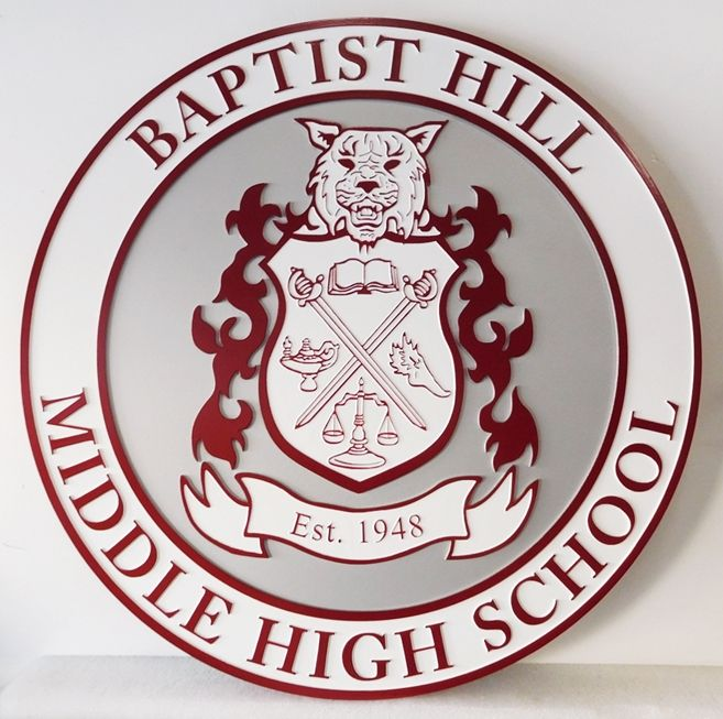 TP-1190 - Carved Wall Plaque of the Seal / Logo of Baptist Hill Middle High School   Artist Painted