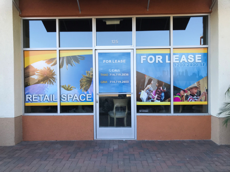 For Lease Window Graphics for Commercial Properties Orange County CA