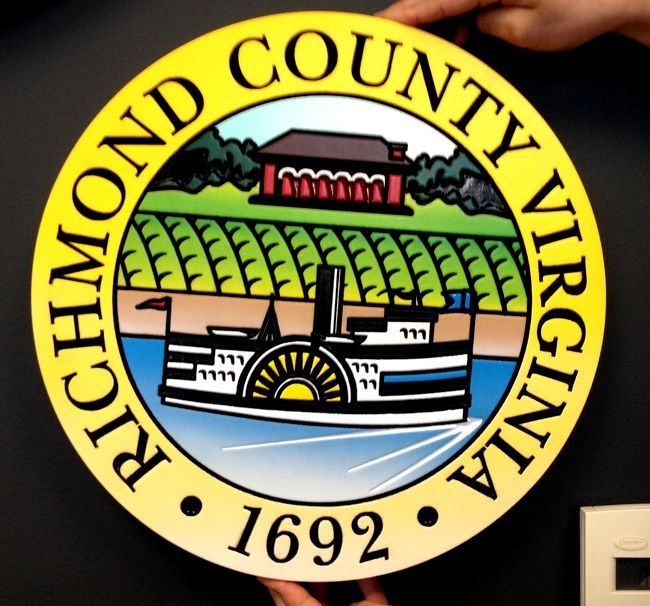 X33376 - Carved Wall Plaque of the Seal of Richmond County, Virginia, with a Side-Wheel Steamboat on a River as Artwork.